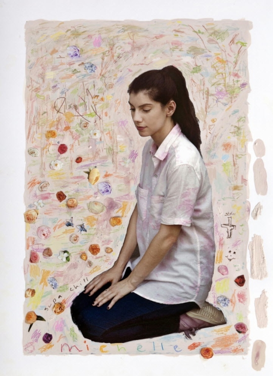 A collaboration by Michelle Rawlings and Nan Coulter using paint, pencil, photography, and collage.