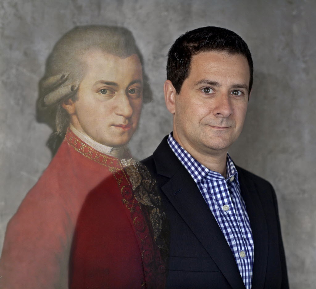 Wolfgang Amadeus Mozart and Kevin Moriarty. Digitally blended photo illustration by Nan Coulter