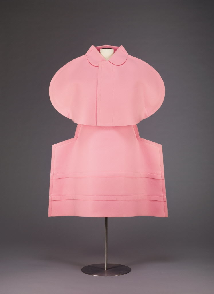 Rei Kawakubo's polyester and cotton jacket and skirt for Commes des Garçons spring 2011 collection. The Mary Baskett Collection of Japanese Fashion at the Crow.