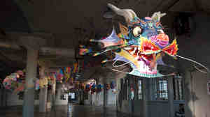 "Ai Weiwei's With Wind greets visitors to his exhibit, ""@Large,"" on Alcatraz Island in San Francisco."