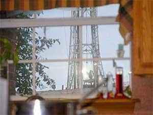 Drill rig outside the Ruggiero kitchen window.