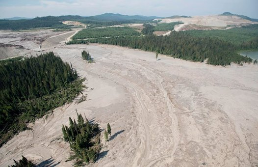 Photo: On the two month anniversary of the huge toxic mining waste dam failure in British Columbia we visited the site.  An estimated 25 million cubic meters were released, backing up into Polley Lake, flowing down through 10 km of Hazeltine Creek, and emptying into Quesnel Lake.   Trip report here: http://bit.ly/1shN8Q4