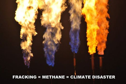 Photo: It's pretty simple: fracking releases methane pollution, which is 86 times more polluting than CO2. That spells climate disaster.  It's time for President Obama to #ActOnClimate. Send him a message now: http://bit.ly/1zaHtoP