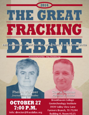 Photo: Tonight: Former DISH, TX Mayor Calvin Tillman debates pro-fracking documentarian Phelim McAleer.  Watch the Livestream starting at 7pm CST/8pm EST here: http:bit.ly/1DThm4v
