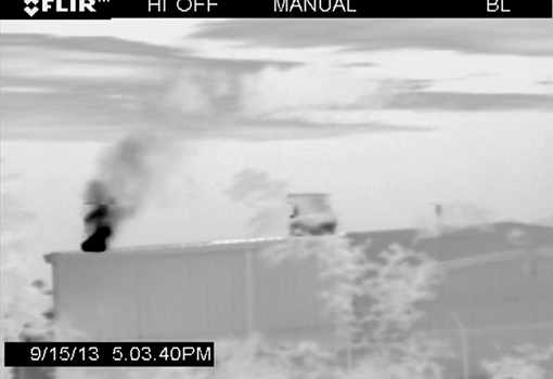 Photo: The Carr family of Fayette County, PA has been sickened for years by air pollution from a nearby compressor station—but neither the state nor the operator have ever acknowledged it.   Read their story here: http://bit.ly/1td6RWP  Pictured: FLIR images show what the naked eye can't see -- toxic emissions billowing off the compressor station.