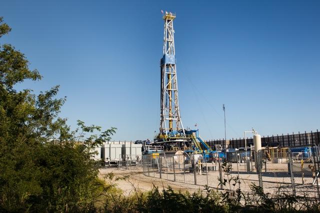 Drilling rig in Denton, Texas.
