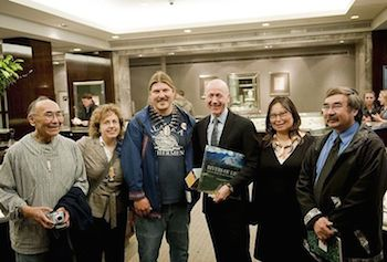 Earthworks staff and Bristol Bay native leaders at London Tiffany store, thanking them for their support.