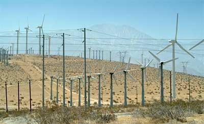 Wind turbines near Palm Springs, California. Photo: Freefoto.com