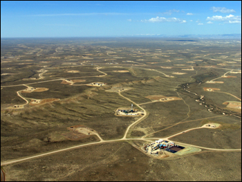 The Jonah gas field in Wyoming. Photo: SkyTruth