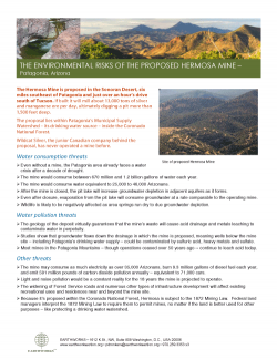 Hermosa Mine proposal: water impacts fact sheet