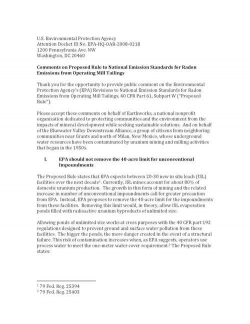 Comments on Proposed Rule to National Emission Standards for Radon Emissions from Operating Mill Tai