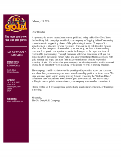 Letter to Jewelry Retailer *Laggards* from the No Dirty Gold Campaign