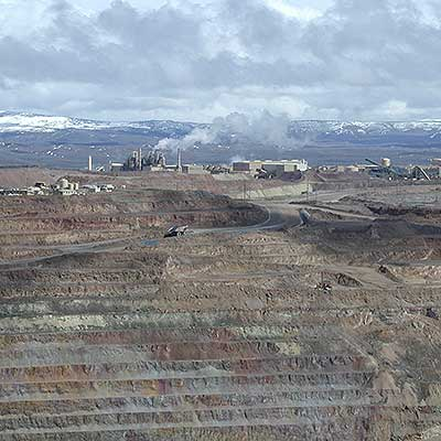 The ore roaster at Newmont's Gold Quarry mine in Nevada is a large source of mercury air pollution from gold mining.
