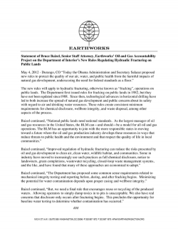 Statement of Bruce Baizel, Senior Staff Attorney, Earthworks' Oil and Gas Accountability Project