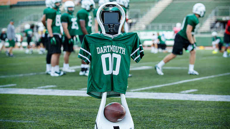 Go Big Green! Dartmouth is testing the VGo robot to help diagnose concussions when neurologists aren't at the game.