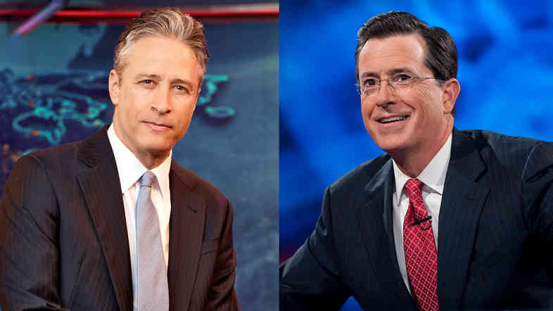 Jon Stewart (from left) and Stephen Colbert hosted live editions of their programs, The Daily Show and The Colbert Report, on Tuesday.