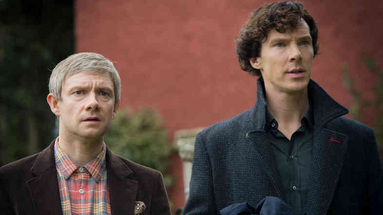 Benedict Cumberbatch, right, and Martin Freeman star as Sherlock Holmes and John Watson on the BBC's crime drama Sherlock.