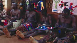 Fon appliqué workers in 1971, Abomey, Republic of Benin.