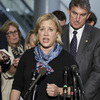 Sen. Mary Landrieu, D-La., chair of the Senate energy committee, spoke Wednesday about getting congressional approval for the Canada-to-Texas Keystone XL pipeline. With her is Sen. Joe Manchin, D-W.Va., a member of the committee.