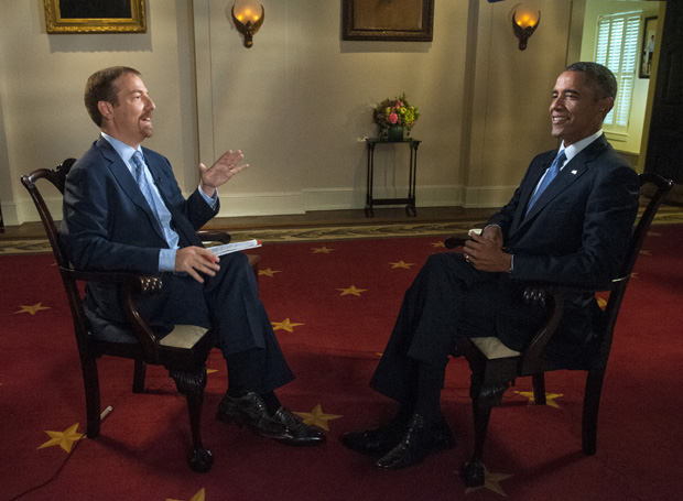 "In this Sept. 6, 2014 image released by NBC, Chuck Todd, left, speaks with President Barack Obama prior to an interview for ""Meet the Press"" at the White House in Washington."