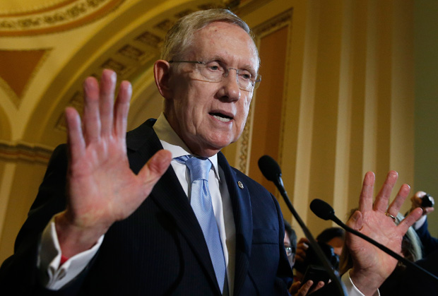 Senate Majority Leader Harry Reid (D-NV) answers questions following the weekly Democratic policy luncheon at the U.S. Capitol September 16, 2014 in Washington, D.C.