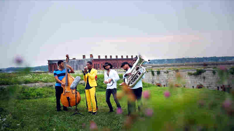 Jon Batiste and the Stay Human band perform on top of Fort Adams at the 2014 Newport Jazz Festival for an NPR Music Field Recordings video shoot.