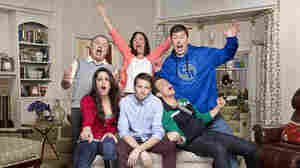 Tyler Ritter (center) stars in CBS's The McCarthys with, clockwise from top left, Jack McGee, Laurie Metcalf, Jimmy Dunn, Joey McIntyre and Kelen Coleman.