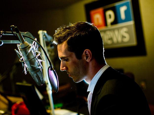 NPR International Correspondent Ari Shapiro in a studio at the NPR headquarters in Washington, D.C.
