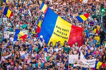 Massive protests in Bucharest, Romania, opposing the proposed Rosia Montana open pit gold mine.