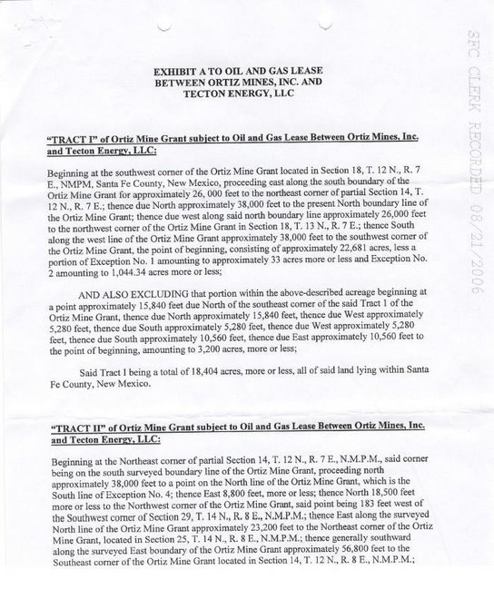 Ortiz Mines, Inc Memo of Oil & Gas Lease Exhibit A Part 1