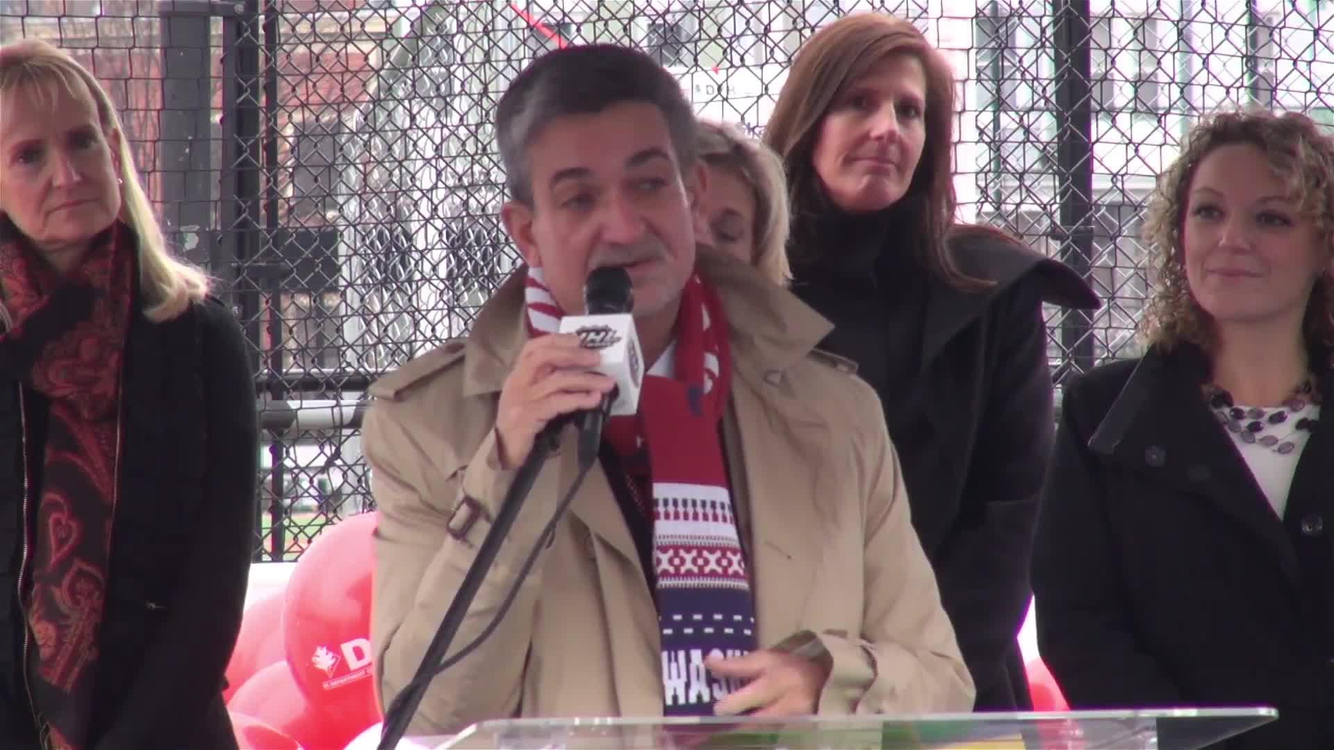 Ted Leonsis, Gary Bettman drop the puck on refurbished D.C. hockey rink (Video)