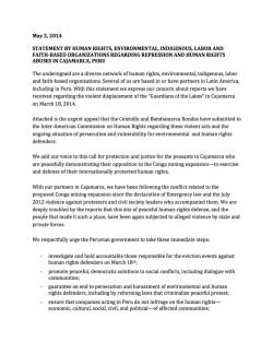 Cajamarca, Peru statement by human rights, enviro, indigenous, faith NGOs re represssion and human r