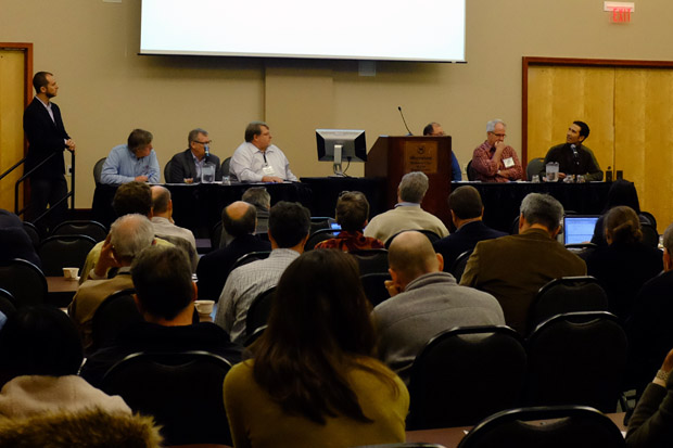 A panel of state geological surveys and oil and gas regulators at the National Seismic Hazard Workshop on Induced Seismicity, held in November at a conference center in Midwest City, Okla.