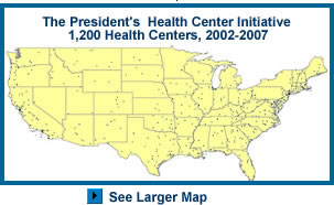 The President's Health Initiative; U.S. map showing distribution of 1,200 new or expanded Health Centers, 2002-2007