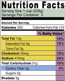 Nutrition information on a food label