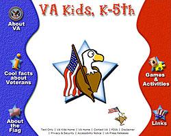 Screenshot of Department of Veterans Affairs' VA Kids website.