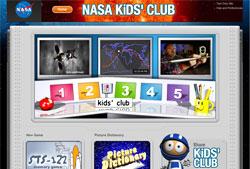 Screen shot of NASA Kids' Club's home page.