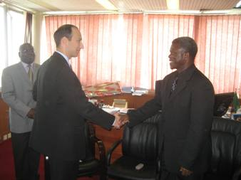 September 4, 2008 – (Lusaka, Zambia) Deputy Secretary Troy greets the Honorable Brian Chituwo, M.D., Minister of Health of the Republic of Zambia.