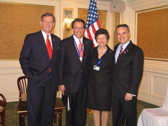 January 14, 2008 – Members of the Presidential Delegation to the Inauguration of the Honorable Álvaro Colóm as President of Guatemala. From left to right: U.S. Secretary of Health and Human Services Michael O Leavitt; the Honorable Rob Mosbacher, President of the Overseas Private Investment Corporation; the Honorable Sara Martínez Tucker, Under Secretary of Education; and the Honorable Christopher A. Padilla, Under Secretary of Commerce for International Trade.