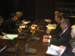 April 14, 2008 – The Honorable Michael O. Leavitt, Secretary, U.S. Secretary of Health and Human Services, meets with the Honorable Noer Hassan Wirajuda, Foreign Minister of the Republic of Indonesia. The meeting with the Foreign Minister started a day of meetings with Indonesian senior officials on cooperation between the United States and Indonesia on health issues. (Photo Credit: Christopher Hickey)