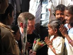 January 7, 2008 – HHS Secretary Michael O. Leavitt exchanges gifts with a group of young patients at the Government Hospital of Thoracic Medicine in Chennai, India.