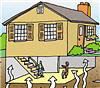 Illustration of radon gas entering a house.