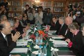 Secretary Bodman meets with Pakistani senior government officials at a bilateral meeting at the Pakistan's Ministry of Foreign Affairs