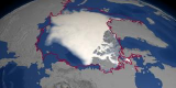 This image shows the SSMI September minimum sea ice concentration for September, 2004. The red line indicates the average September minimum sea ice extent derived from the average of monthly data between 10/1978 and 9/2002.  Link takes you to a listing of narrated movies that the SVS has helped create.