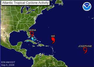 Atlantic Tropical Cyclone Activity graphic showing the location of Hanna, Ike, and Josephine