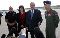 """President George W. Bush speaks to the media upon his arrival Friday, Sept. 12, 2008, at Tinker Air Force Base, Oklahoma. Speaking about the impending landfall of Hurricane Ike, the President said, """"I want to thank the citizens of Oklahoma for getting ready to help a Texan in need. I urge my fellow Texans to listen carefully to what the authorities are saying in Galveston County or parts of Harris County, up and down the coast. The federal government will not only help with the pre-storm strategy, but once this storm passes we'll be working with state and local authorities to help people recover as quickly as possible."""""""