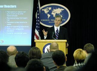 Deputy Secretary Sell holds a press briefing at the Foreign Press Center