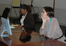 Jessie Roberts of Trademarks (right) and Rochaun Johnson of Patents (left) respond to questions during a recent online chat
