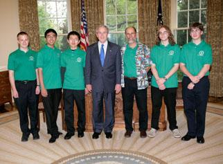 President Bush meets with the winners of the DOE's National Science Bowl