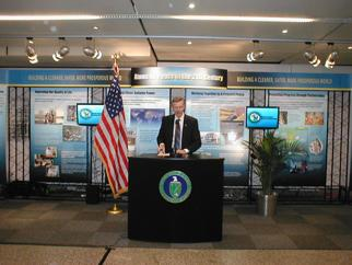 Assistant Secretary Spurgeon hosts a press conference at the IAEA